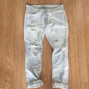 J Brand light was distressed boyfriend jeans